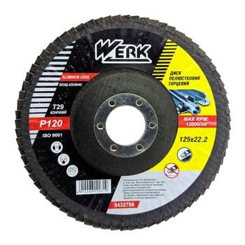Круг лепестковый WERK 125*22мм конический (А120) (шт.)